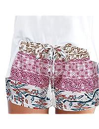 Funic Womens Hot Pants Summer Casual Shorts High Waist Short Pants Daily Sports Pants