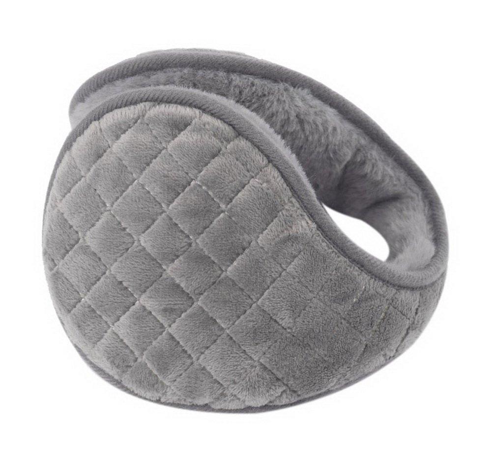 Mens Winter Warmer Ear Covers Soft Plush Earmuffs Portable Warmer Gray Checkered GM-CLO2475021011-ZARA02391
