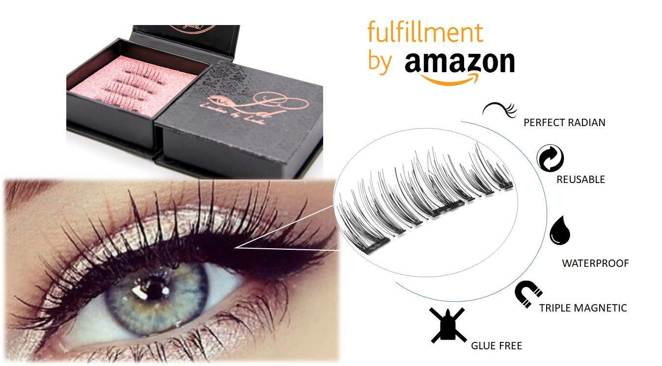 LD Triple Magnetic Eyelashes by Lulu | Magnet Ultra-thin 0.2mm|False Eyelashes Set for Dramatic Look| 3D Handmade Reusable Fake Lashes | No Glue [Glue Free]|Original extensions-Prime