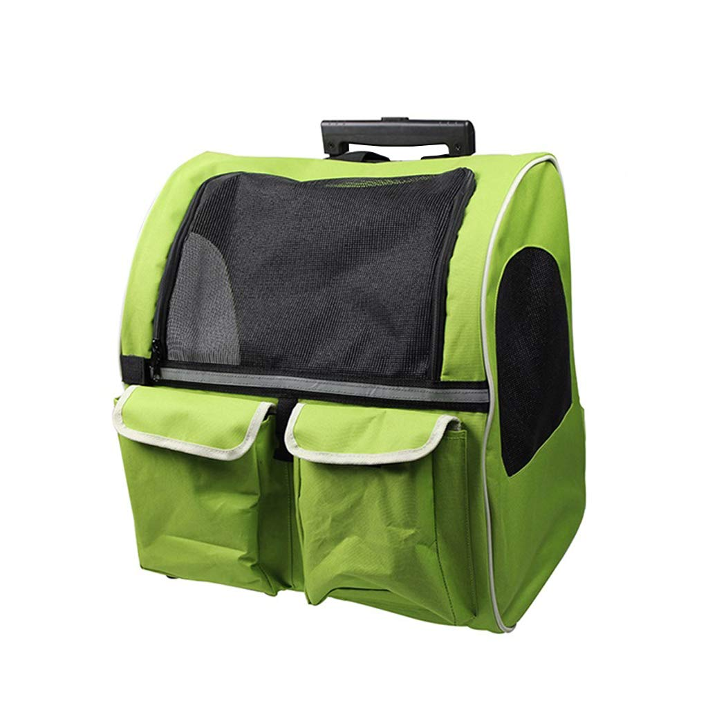 Pet Travel Bag Large Pets Trolley Carrier Dog Stroller Pet Carrier Backpack Luxury Travel Pet Bag Strollers(Pets up to 40 Pounds) Green