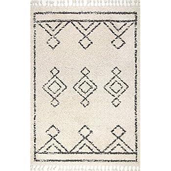 "nuLOOM GCDI03A Mackie Moroccan Diamond Shag Area Rug, 5 3"" x 7 7"", Off White"