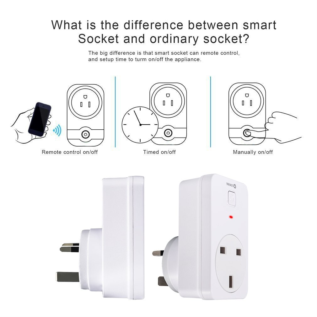 Compatible with Alexa and Google Home Smart Home Devices Control Your Devices from Anywhere COOSA Wireless WiFi Smart Plug White 1 Pack No Hub Required App Remote Control Timer Plug