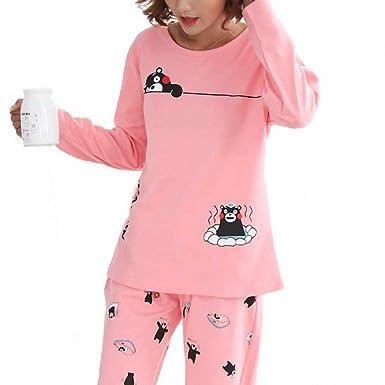 Spring Pyjamas Women Carton Cute Pijama Pattern Pajamas Set Pijamas Mujer Sleepwear Pink M