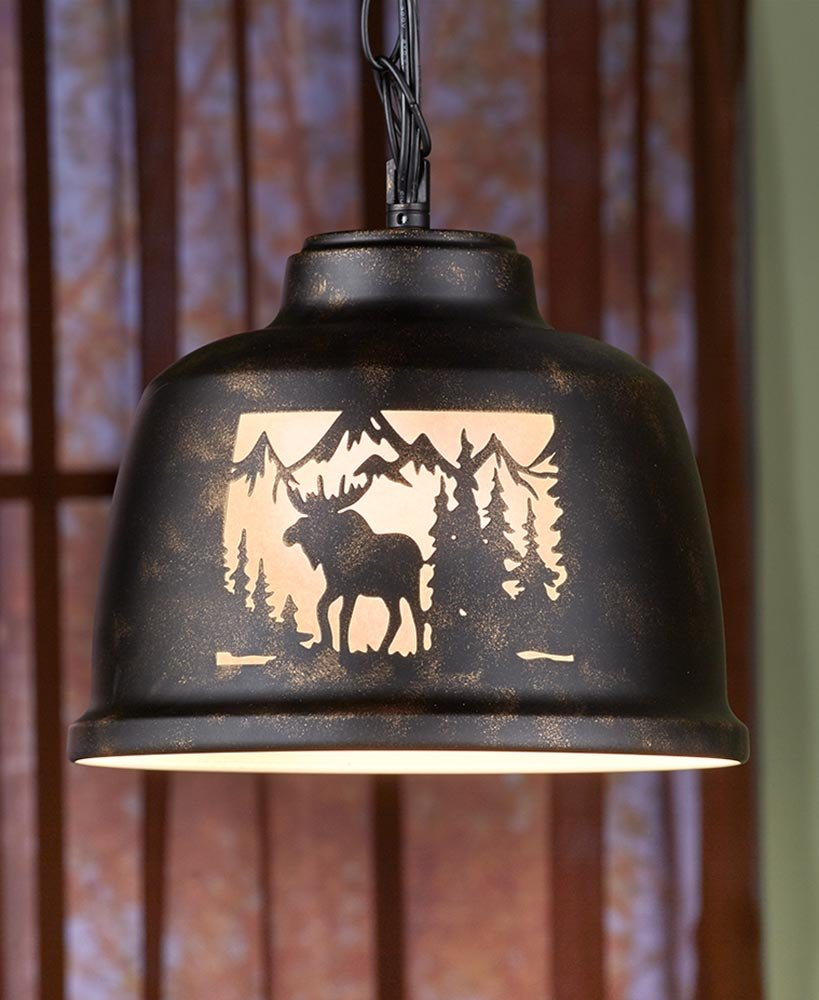 The Lakeside Collection Wildlife Pendant Lamps- Moose