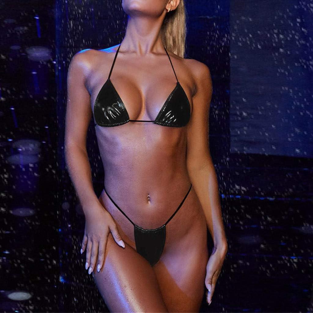 LOPILY Ladies Swimsuit Swimming Costume Neon Bikini Sets for Women Tie Side Bottom Micro Thong Bikini SetSheer Extreme Bikini