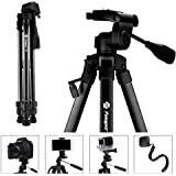 "Fotopro Tripod for Camera, 61"" Compact Lightweight Phone Tripod, Travel Tripod with Bluetooth and Smartphone Mount, Aluminium Camera Stand Smartphone Tripod for iPhone DSLR Camcorder Canon"