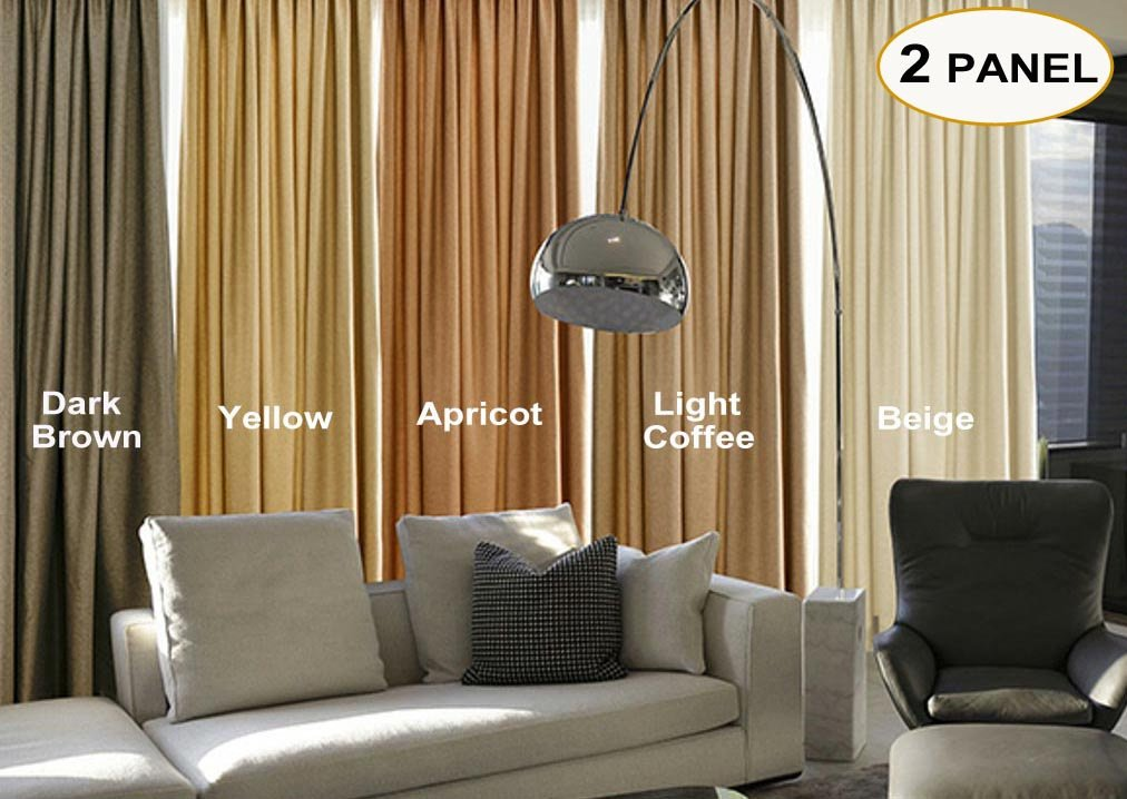 Artdix Blackout Curtains Panels Window Drapes - Light Coffee 100W x 96L Inches (2 Panels) Grommet Top Nursery Insulated Thermal Solid Faux Linen Fabric Curtains For Bedroom, Living Room, Kids Room