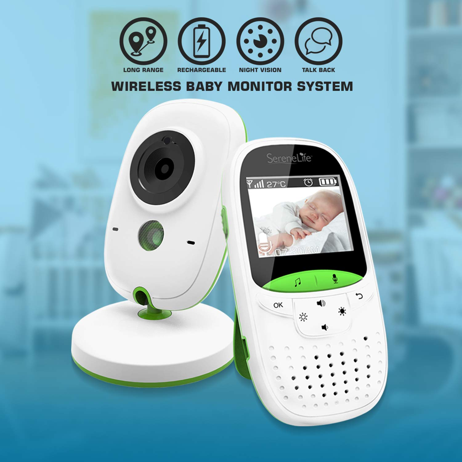 Video Baby Monitor Long Range – Upgraded 850 Wireless Range, Night Vision, Temperature Monitoring and Portable 2 Color Screen – Serenelife USA SLBCAM10