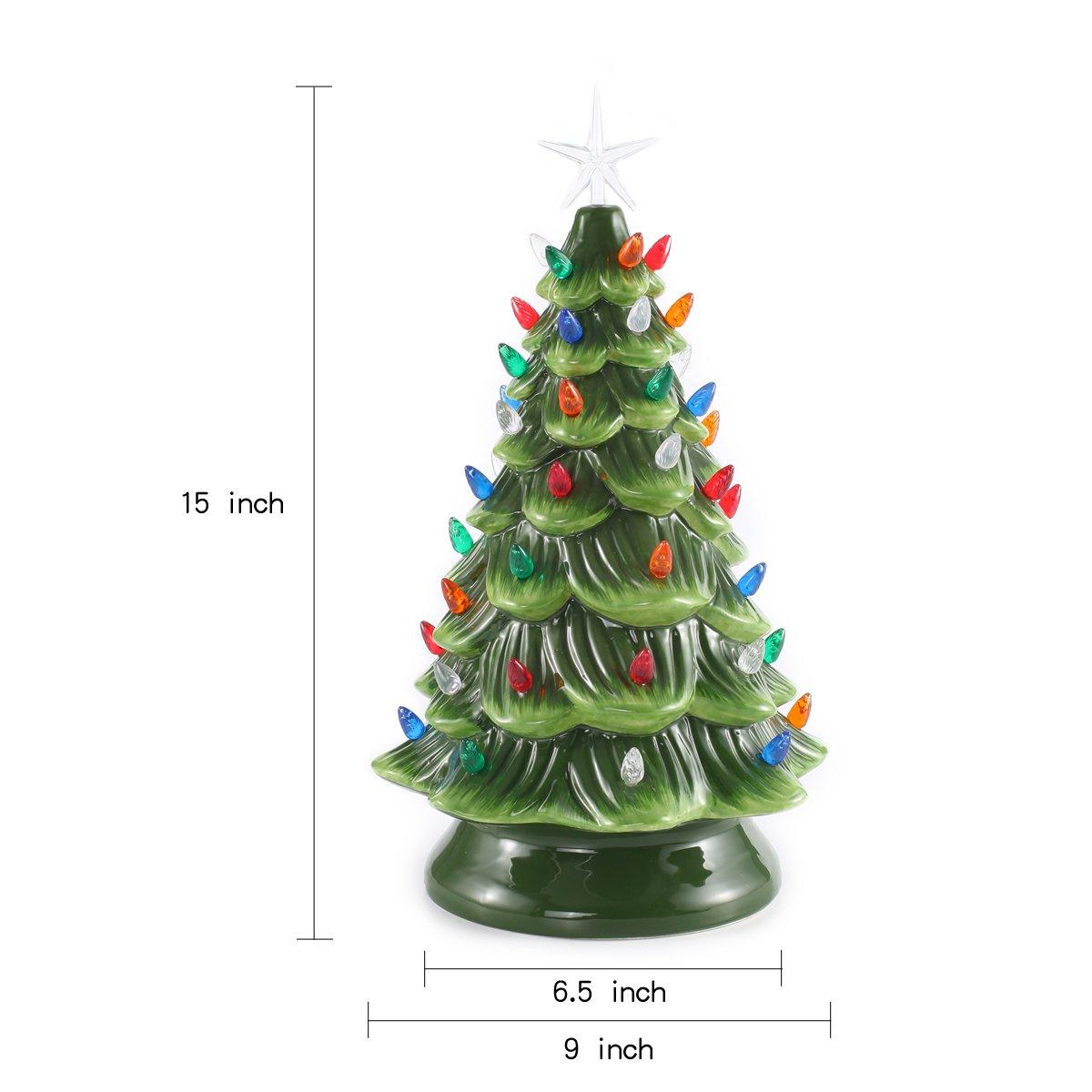"Amazon.com: 15"" Tabletop Prelit Ceramic Christmas Tree with ..."