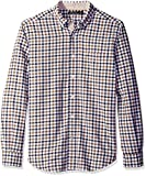 Nautica Men's Classic Fit Marine Check Shirt, Oyster Brown, Large