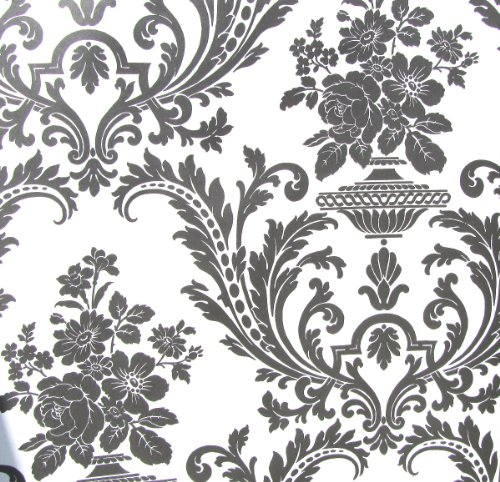 Wallpaper Victorian Black and White Classic Traditional Damask (Victorian Vinyl Wallpaper)