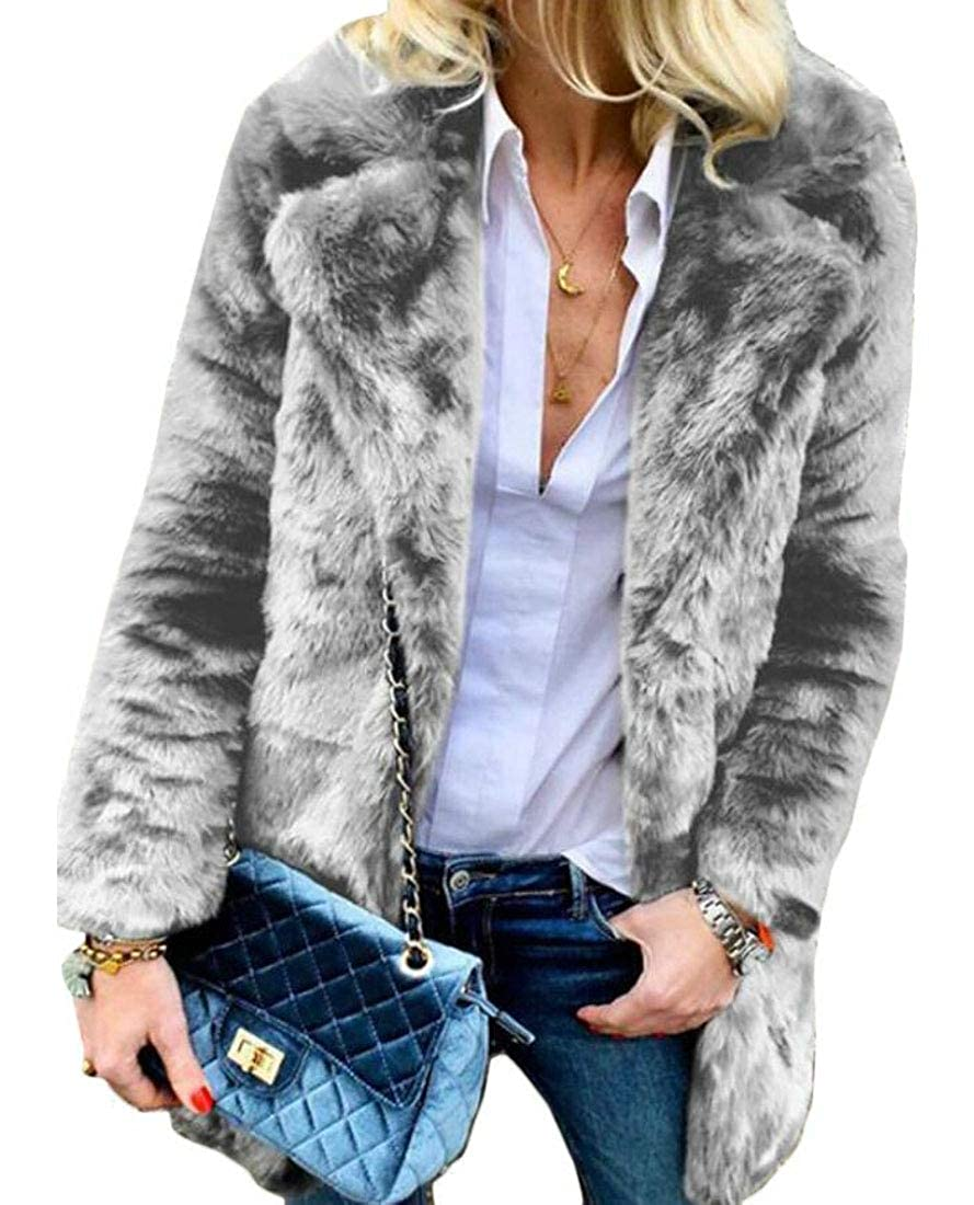 ainr Womens Winter Lapel Faux Fur Coat Jacket Long Sleeve Outerwear