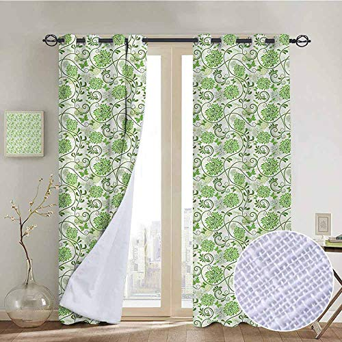 """NUOMANAN Decor Curtains by Green and White,Butterflies with Flourishing Hydrangea Flowers Growth Graphic Arsty,Lime Green White,Wide Blackout Curtains, Keep Warm Draperies,1 Pair 84""""x84"""""""