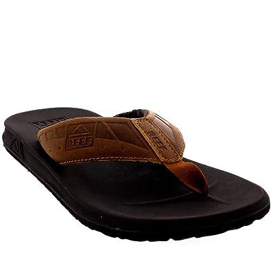 07b75c3c8543 Reef Mens Phantoms Le Leather Brown Flip Flops Surfing Beach Sandals -  Brown Tan -