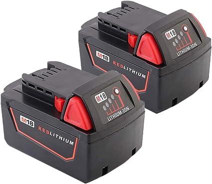 XNJTG 5.0Ah 18V Batteria di Ricambio per Milwaukee M18 48-11-1850 48-11-1852 48-11-1820 48-11-1828 48-11-10 Batteria 18V Milwaukee utensili