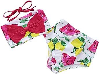 Little Girl Summer Bikini Sets,Jchen Baby Kid Girl Swimsuit Bow Bikini Tops with Shorts Watermelon Lemon Print Bathing Suits