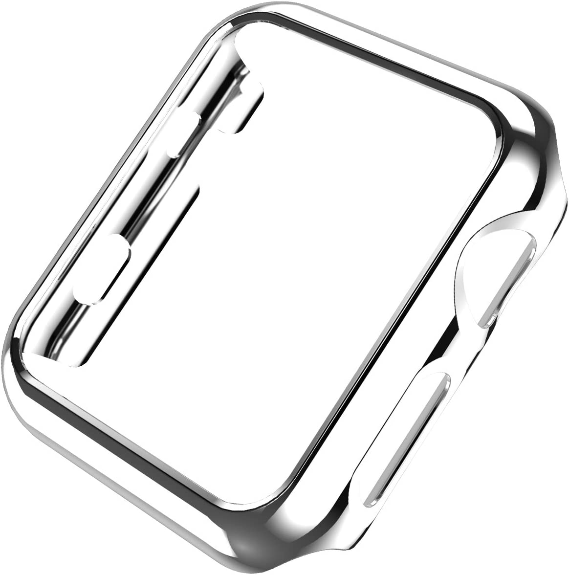 Leotop Compatible with Apple Watch Case 44mm 40mm, Super Thin PC Plated Bumper Protector Shiny Cover Lightweight Slim Shell Shockproof Frame Accessories Compatible iWatch Series 6 5 4 SE(Silver, 44mm)