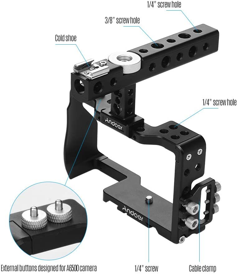 Andoer Andoer Camera Cage /& Top Handle /& 15mm Rod Baseplate Kit Film Movie Making Video Cage Stabilizer Aviation Aluminum with Cold Shoe Mount Cable Clamp for Sony A6000//A6300//A6400//A6500 Camera