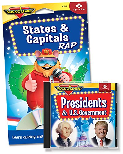 Social Studies Audio CD & Book Set - States & Capitals Rap and Presidents & U.S. Government