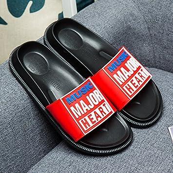fankou Parejas de Verano Zapatillas de Baño Interiores del Hombre Cool Arrastre antideslizamiento y Zapatillas Personalizadas,39, Negro y Rojo: Amazon.es: ...