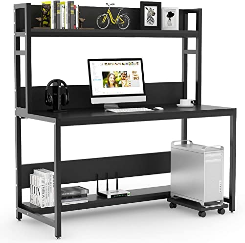 Tribesigns 55 Inches Large Computer Desk with Hutch, Modern Writing Desk with Bookshelf, PC Laptop Study Table Workstation for Home, Black Black Legs
