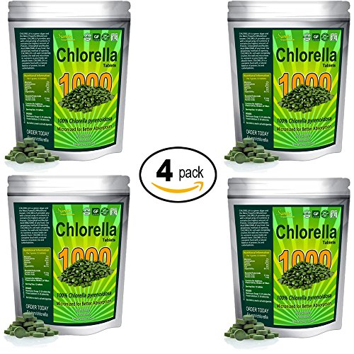 Chlorella Tablets (Mega-pack 1000 tablets). Organic, raw, non-GMO. 100% Pure Chlorella Pyrensoidosa. Green Superfood Supplement. High protein, chlorophyll & nucleic acids. No preservatives or fillers by Sunlit Best Green Organics