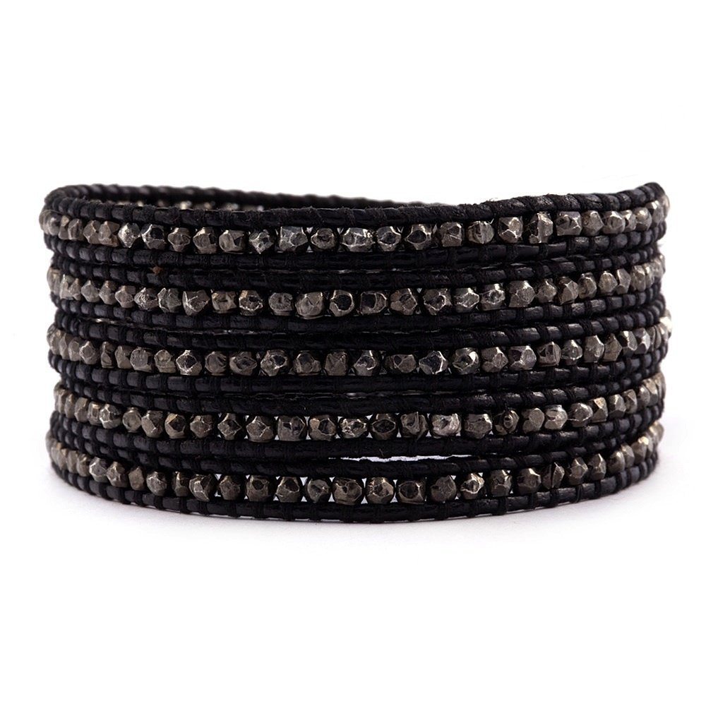 Chan Luu Gunmetal Warp Bracelet on Black Leather, BS-2097