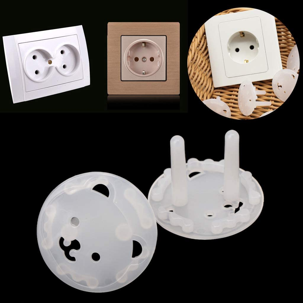 JAGETRADE 10pcs EU Stand Power Socket Cover 2 Hole Electrical Outlet Baby Child Safety Electric Shock Proof Plugs Protector