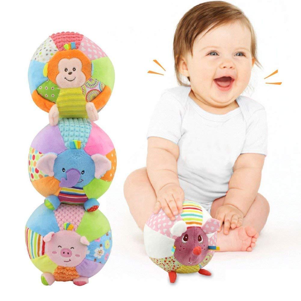Giocattolo della peluche Sonaglio della mano della stretta Scoperta della palla Palla musicale del bambino Molle Sviluppo giocattolo Campana Anello Palla Educativo Sensoriale Sport Palla Elefante