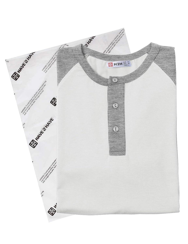 H2H Mens Casual Slim Fit Henley T-Shirt Short Raglan Sleeve T-Shirt