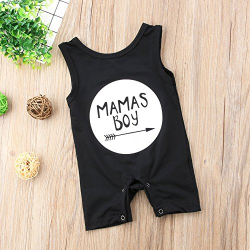 Newborn Baby Boys Sleeveless Mama's Boy Print Romper Black Jumpsuit Playsuit Outfits