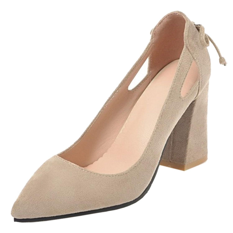 COOLCEPT Damen Comfort Blockabsatz Pumps Beige2018 Letztes Modell  Mode Schuhe Billig Online-Verkauf