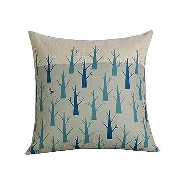 Amazon.com: Almohadas de algodón e impresión de lino sofá ...