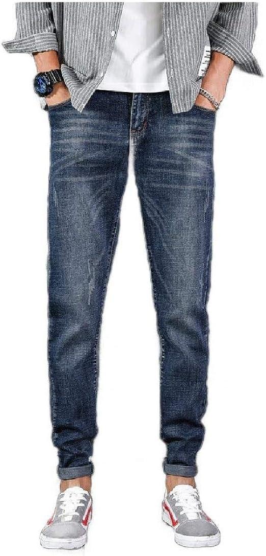 cheelot メンズ 5 ポケット ストレッチ デニム パンツ ディストレス スリム カジュアル テーパード ジーンズ