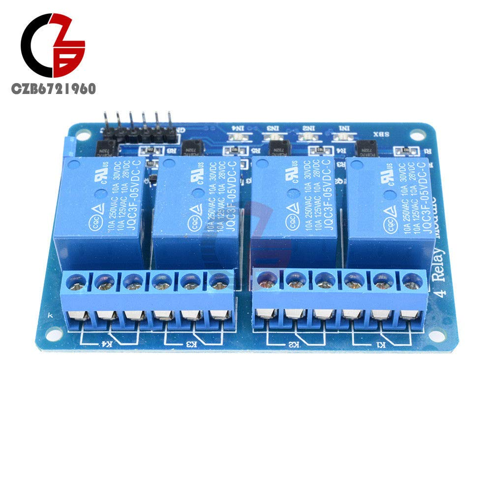 5pcs Four 4 Channel Relay Module Dc 5v With Optocoupler Arduino Pic Interfacing 8051 Microcontroller Circuit Arm Avr Dsp Industrial Scientific