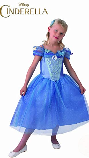 Disney Princesas Disfraz Cenicienta Live Action, para niñas, talla L, color azul (