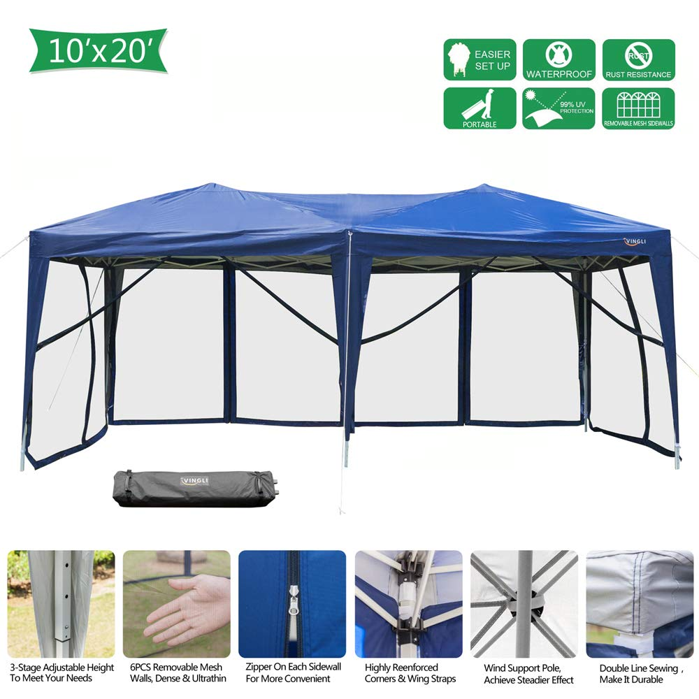 VINGLI EZ POP UP 10'x20' Outdoor Canopy Tent| Removable Mesh Sidewalls & Portable Rolling Carrying Bag, for Camping/Travel/Patio/Gazebo, Sun & Water Resistant by VINGLI