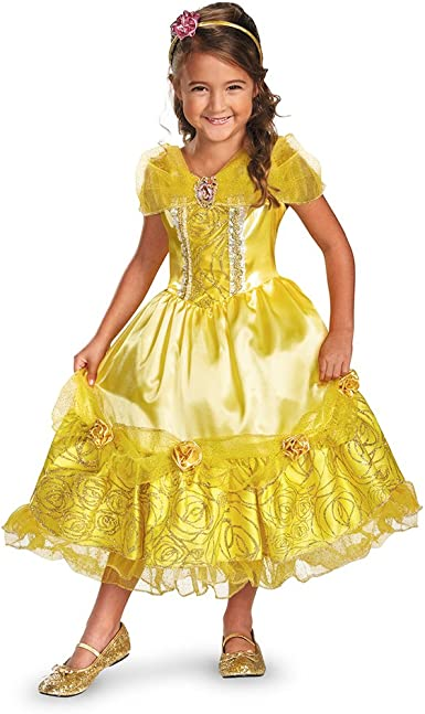 Girls Deluxe Belle Gold Sequin Peplum Dress Childs Travis Beauty Beast Disney
