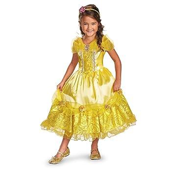 Disfraz Disney de la Bella y la bestia Belle Sparkle Deluxe disfraz de niñas