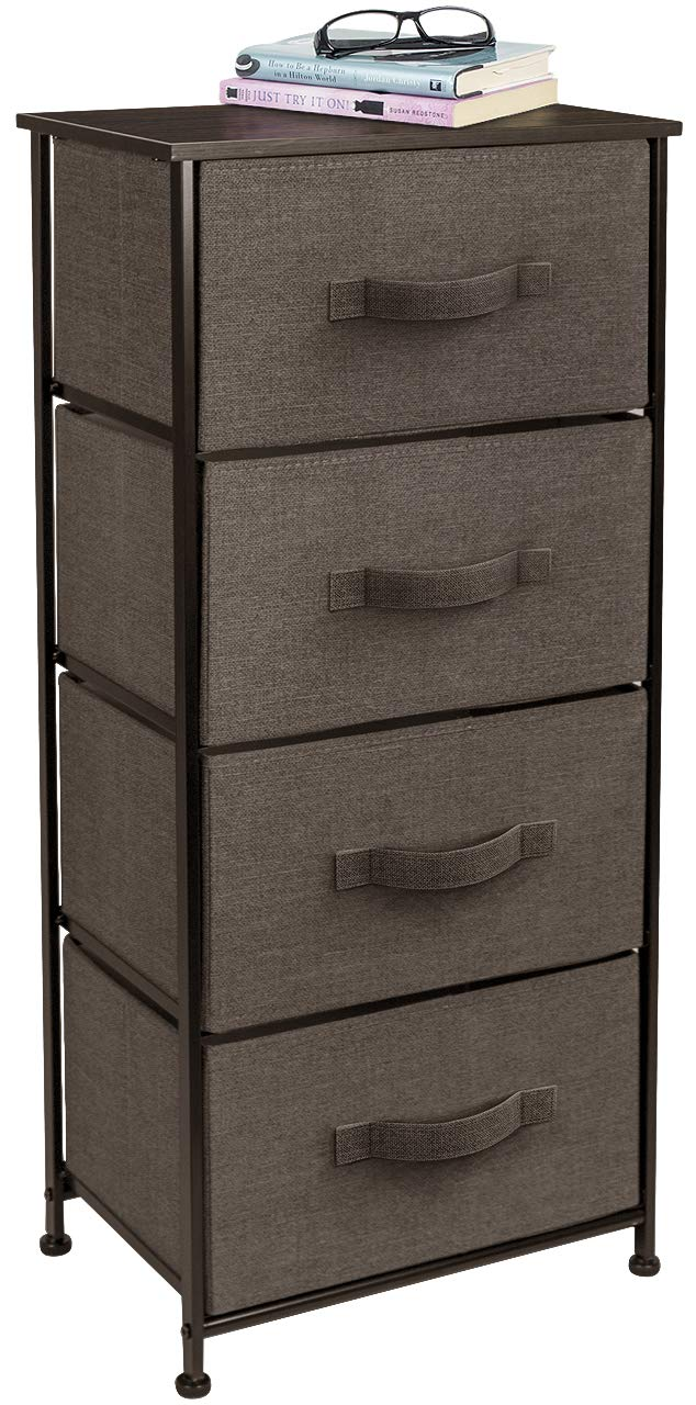 Sorbus Nightstand Chest with 4 Drawers - Bedside Furniture End Table & Dresser for Clothing, Bedroom Accessories, Office, College Dorm, Steel Frame, Wood Top, Easy Pull Fabric Bins (Brown)