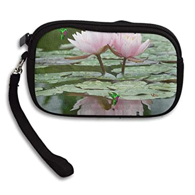 100 Polyester Small Cute Coin Purse Peaceful Lotus Flower In The