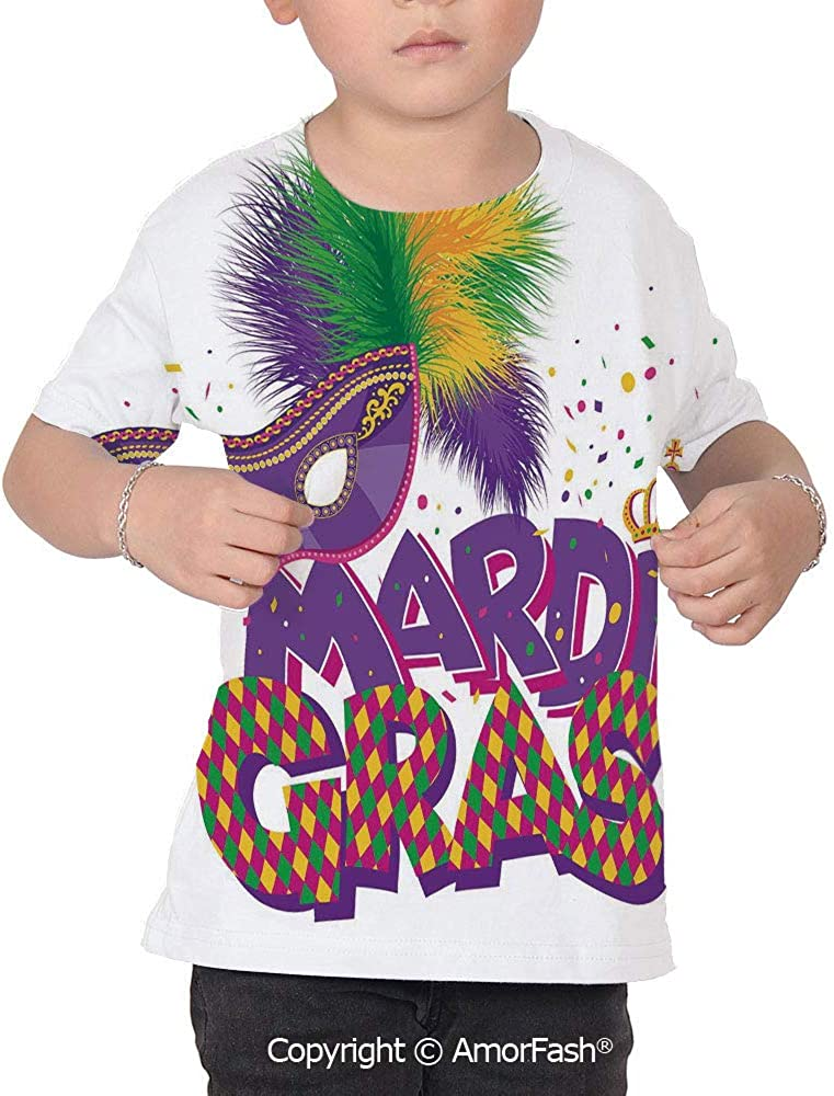Mardi Gras Girls Short-Sleeve Midweight T-Shirt,Polyester,Traditional Holiday Th