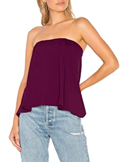 4f5cedc16 Sumtory Women Strapless Crop Top Solid Color Pleated Cami Tank Flared Tube  Top