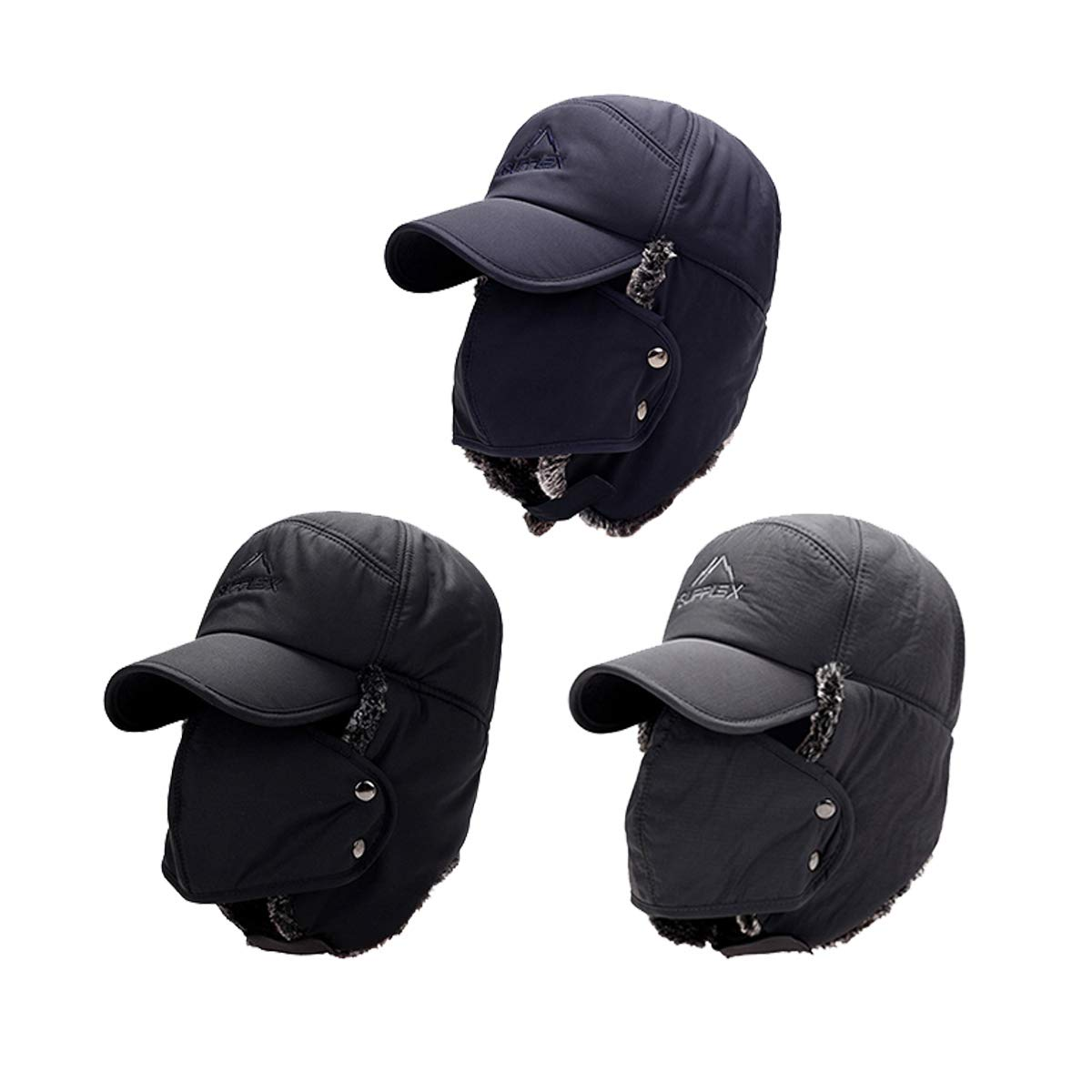 Mens Winter Warm Trapper Hat Ear Protection Bomber Cap Thicken Balaclava Warm Russian Hat with Mask Grey