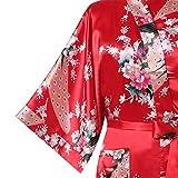 Avidlove-Damen-Morgenmantel-Kimono-Robe-Bademantel-Nachtwsche-aus-Satin-mit-Peacock-und-Blten-entwerfen-Robe-Lange-Stil