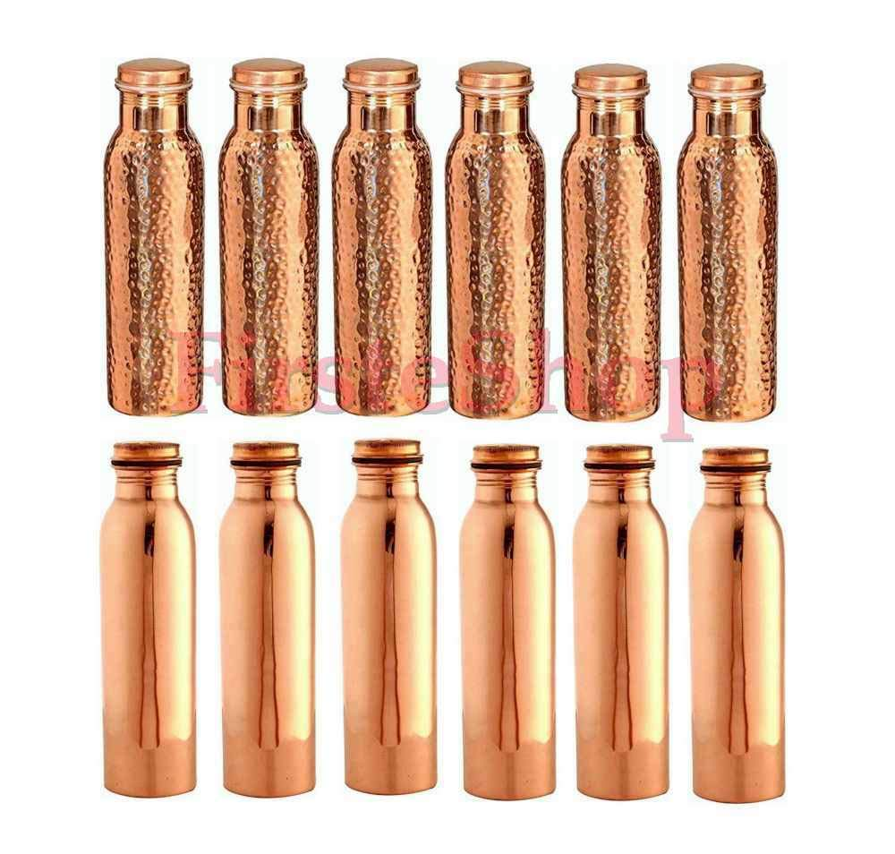 100/% Copper Water Bottle Natural Ayurvedas Benifit Health SET of 6 Pcs