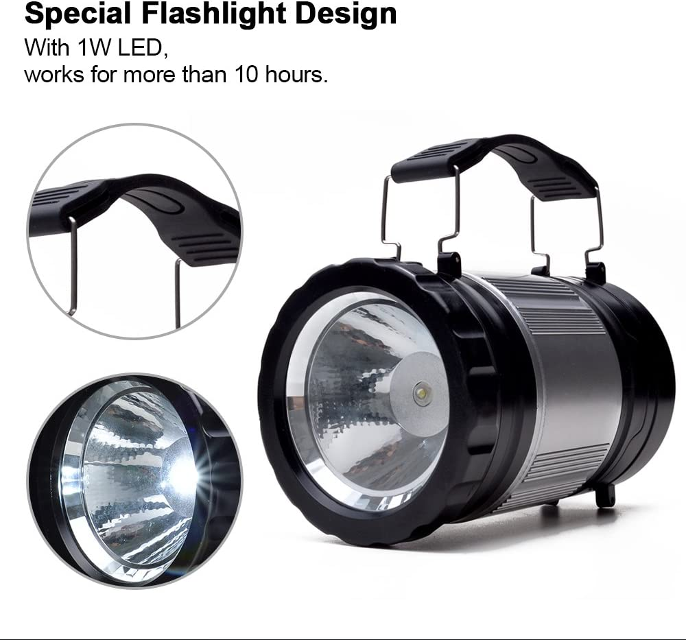 Odoland Version Am/élior/ée 300 Lumens 2en1 Lanterne Camping + Lampe de Poche - /À Piles AA, R/ésistant /à leau, Antichoc, Pliable pour Lampes//Torches//Camping//Bushcraft//Survie//Randonn/ée//Outdoor//P