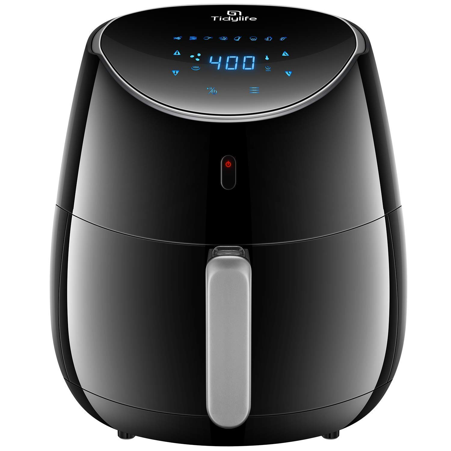 Tidylife Air Fryer XL, 1700W 5.8-Quarts 8-in-1 Oil Free Air Cooker with Cookbook(over 32 recipes), Smart Touchscreen, Recipes, Auto Shut Off, Black Fryer (5.8QT)