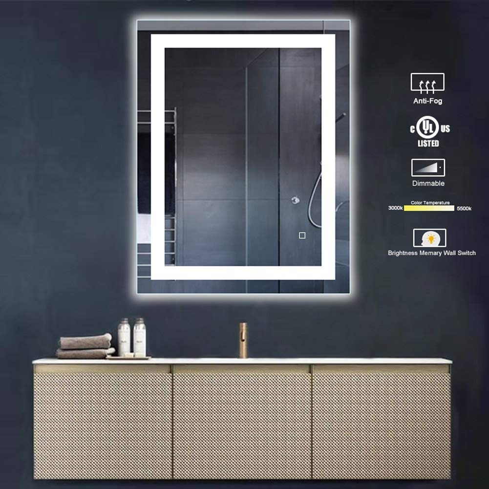32 x 24 inch Bathroom Vanity Mirror, LED Backlit Wall Mounted Defogger Dimmable Touch Switch UL Listed Polished Eadge Frameless 5500K Cool White 3000K Warm CRI 90 Vertical Horizontal