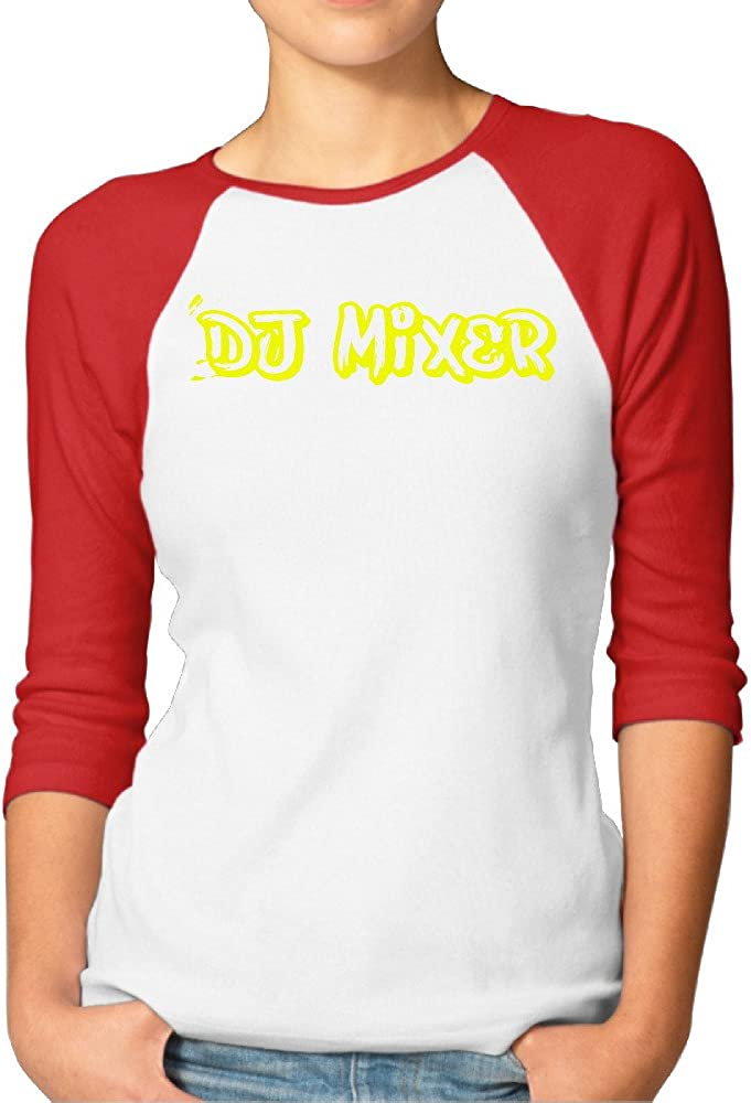 DJ Mixer Golden Music Logo Women's Baseball 3/4 Sleeve T Shirt
